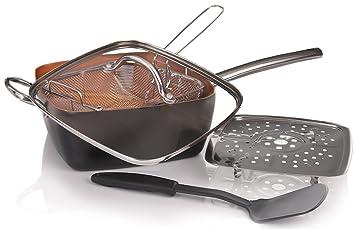 Willow & Everett Cobre sartén 5 piece Cookware Set - horno seguro Plaza no palillo Chef