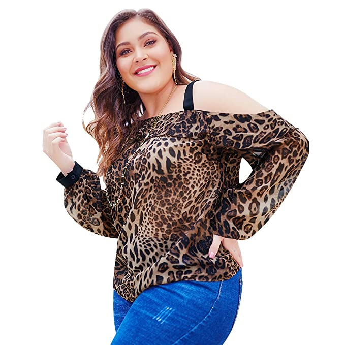 6f17bb83c8d71 Mrsrui Women Leopard Sexy T-Shirt - Long Sleeve Tunic Tops Lightweight V  Neck Pullover Plus Size at Amazon Women s Clothing store