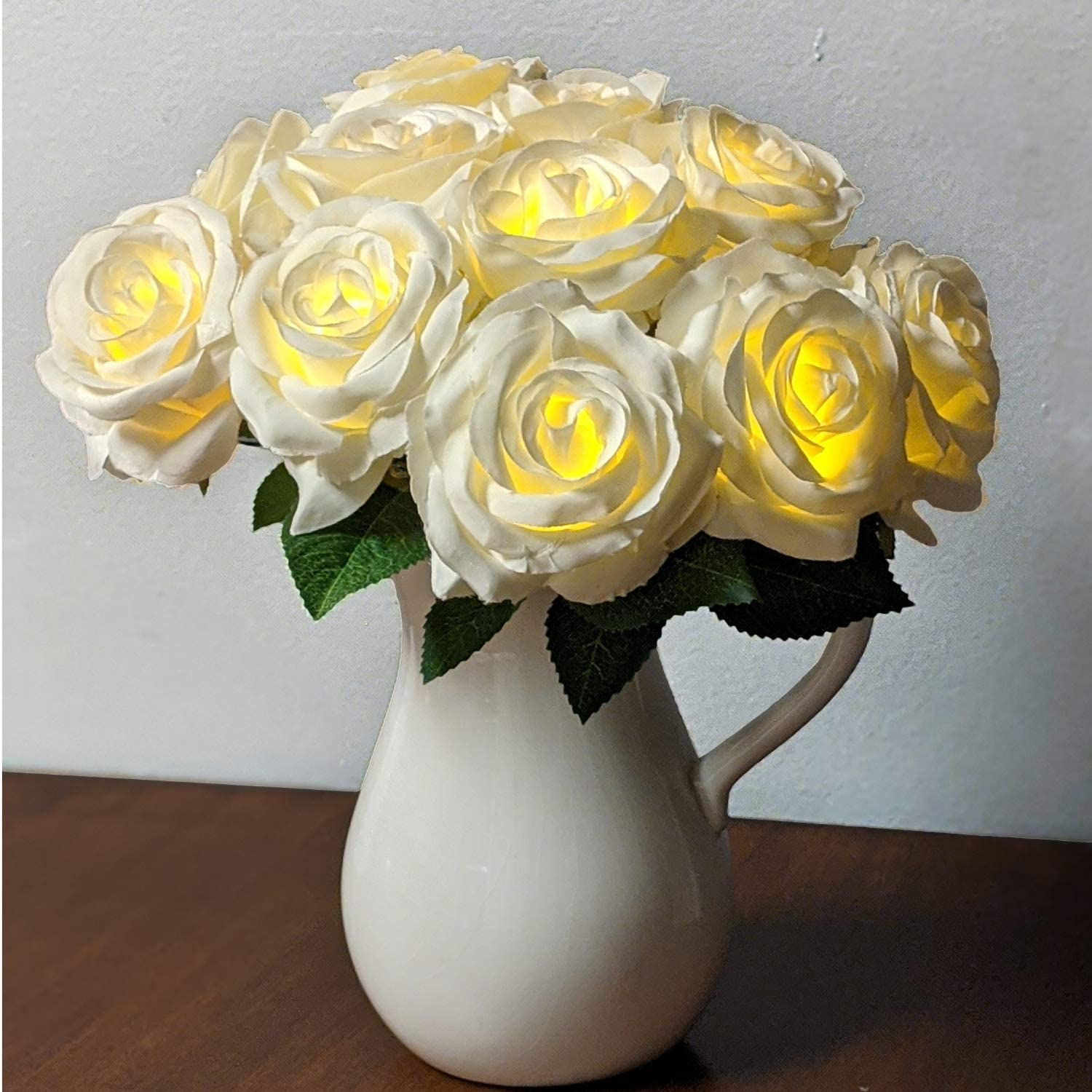 Orchid & Ivy 11 Stem Lighted Rose Bouquet, Artificial White Silk Flowers with LED Lights - Battery Operated with Timer - Beautiful for Home, Weddings,Table Centerpieces, Party Decor (White)