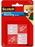 Scotch Removable Mounting Squares, 1-inch x 1-inch, White, 16-Squares (108)