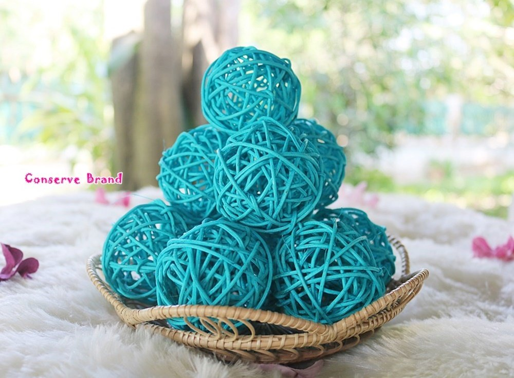 Thailand's Gifts : Small Light Blue Rattan Ball, Wicker Balls, DIY Vase And Bowl Filler Ornament, Decorative spheres balls, Perfect For Decoration And Party 2.5 inch, 12 Pcs. by Conserve's Rattan Ball