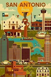 product image for San Antonio, Texas - Geometric (24x36 Giclee Gallery Print, Wall Decor Travel Poster)
