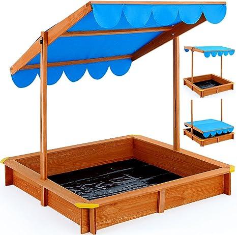 Caja de arena casa de juguete techo de madera protectora caja de ...