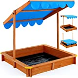 Bac à sable Deluxe 120x120cm - Marquise hauteur réglable - Tapis de sol