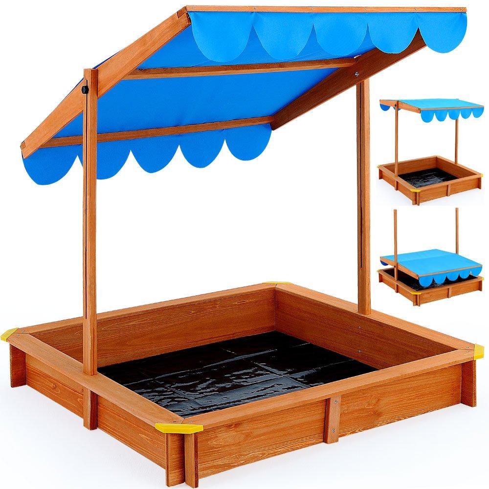 Sandkasten Spielhaus Holz verstellbares Dach Sandbox Sandkiste Kinder 120x120 cm