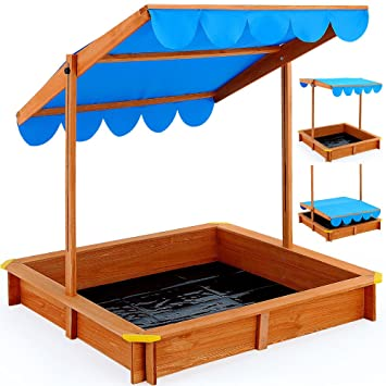 Sand Pit Deluxe 120x120cm - Sand Box with adjustable Roof Canopy for Kids - Outdoor Game  sc 1 st  Amazon UK & Sand Pit Deluxe 120x120cm - Sand Box with adjustable Roof Canopy ...