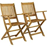 Charles Bentley Garden FSC Certified Pair Of Wooden Outdoor Dining Patio Foldable Armchairs