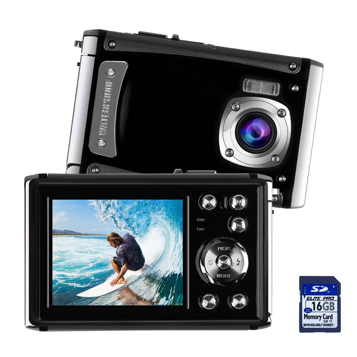 Waterproof Digital Camera for Kids, DECOMEN Underwater Sport Camera, Ultra HD 16MP Digital Kids Camera with 2.4'' LCD Screen, 8x Digital Zoom, Flash, Mic and Rechargeable Battery(16G SD Card Included)