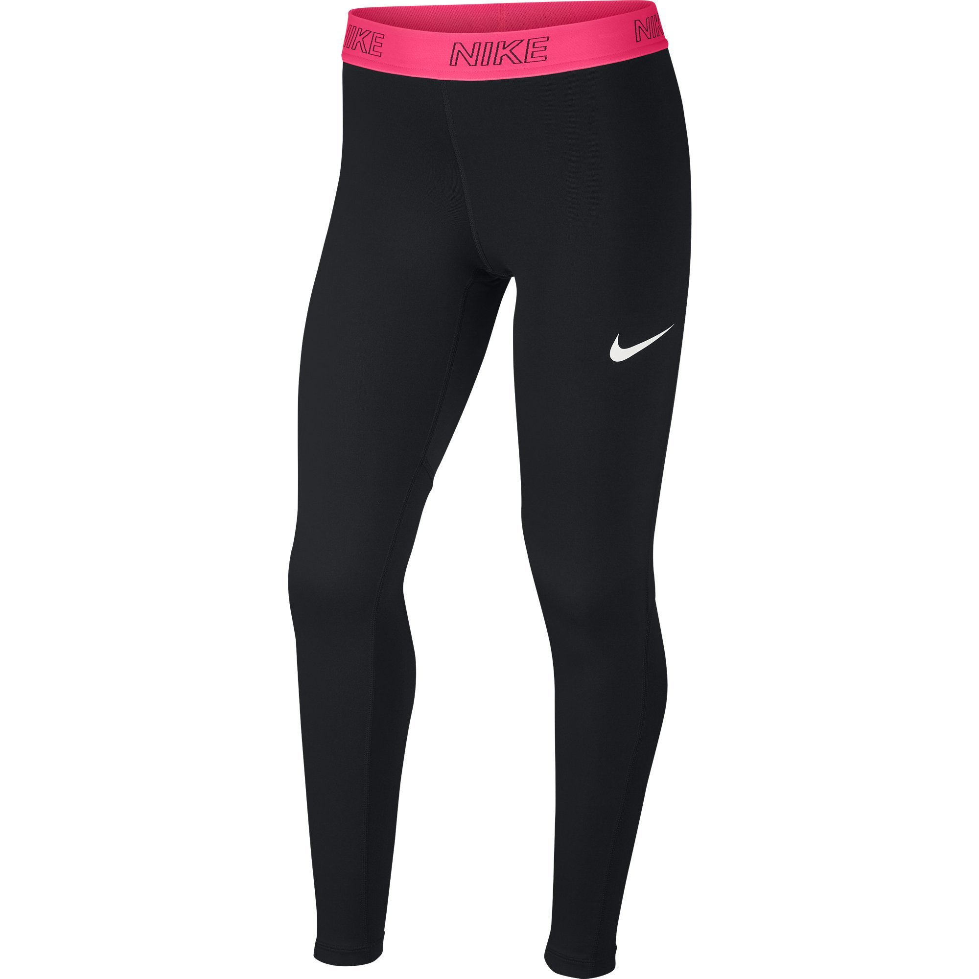 NIKE Girls' Victory Tights, Black/Racer Pink/White, Small by Nike