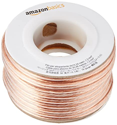 AmazonBasics 16-Gauge Audio Stereo Speaker Wire Cable - 50 Feet on