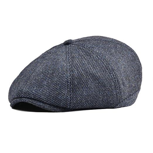 84b4168bd8a VOBOOM Mens Wool Blend Newsboy Cap 8 Pannel Hat Tweed Cap Herringbone  Cabbie Flat Cap (