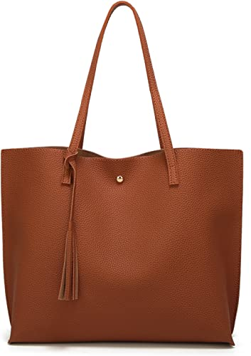 Dreubea Women's Soft Faux Leather Tote Shoulder Bag