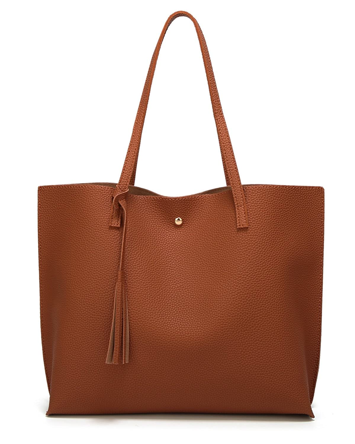 Women's Soft Leather Tote Shoulder Bag from Dreubea, Big Capacity Tassel Handbag WB-009-Ap