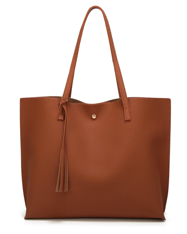 Women's Soft Leather Tote Shoulder Bag from Dreubea, Big Capacity Tassel Handbag Brown