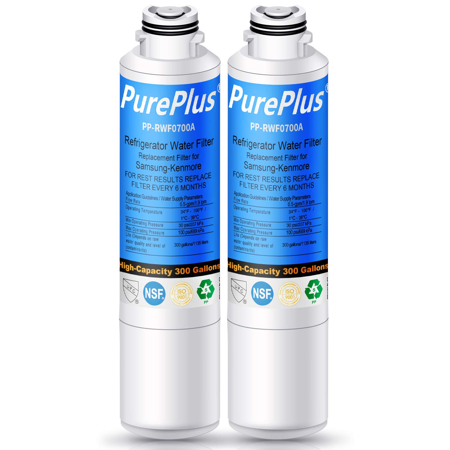 PurePlus DA29-00020B Refrigerator Water Filter, Replacement for Samsung HAF-CIN, HAF-CIN/EXP, DA29-00020A/B, DA97-08006A, RF28HMEDBSR RF4287HARS RF263TEAESG RH22H9010SR RF23J9011SR (Pack of 2)