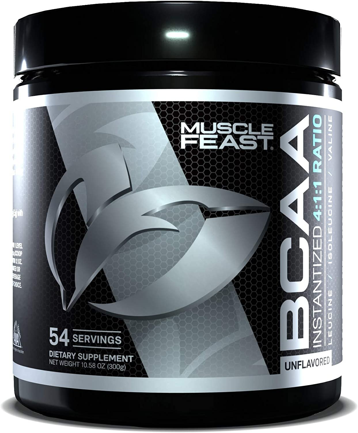MUSCLE FEAST Vegan BCAA Powder 4:1:1 Ratio, Keto Friendly, Sugar Free, Post Workout Recovery, 54 Servings (300 Gram, Unflavored)