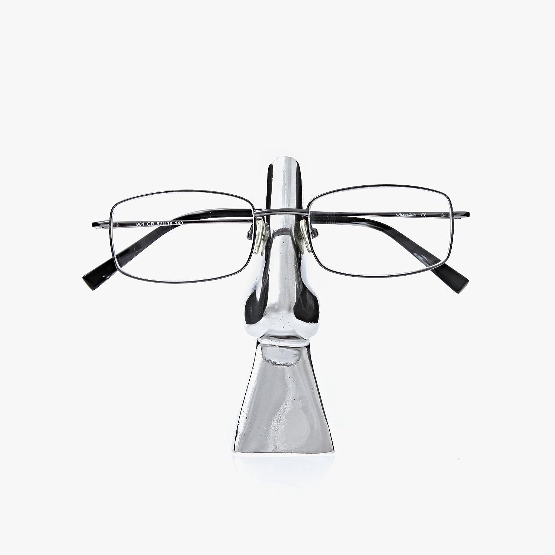 Eyeglasses or Sunglasses Metal Holder Stand Handmade, Silver Nose Design - FREE SHIPPING WORLDWIDE