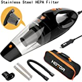 [4th Gen] HOTOR Car Vacuum, DC 12V Car Vacuum Cleaner High Power with Stronger Suction, Potable Handheld Auto Vacuum Cleaner for Car with LED Light, Carrying Bag, HEPA Filter - Black & Orange