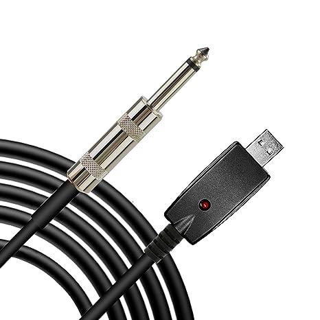 Ebetter Cable USB para guitarra, 3 m, USB macho a 6,3,5 mm, mono macho, ...