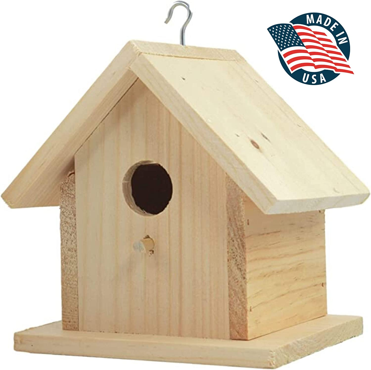 Unfinished Birdhouse to Paint for Birdwatching with Perch, Natural Wood Pine Frame for Finches and Songbirds, Heavy Duty Outdoor Hanging Use (7.5