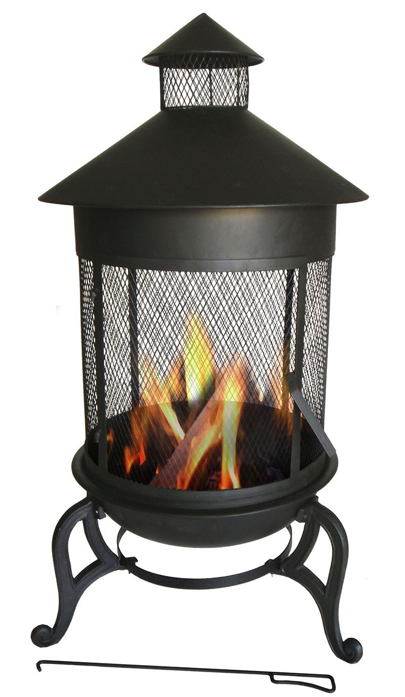 Essential Décor Entrada Collection Metal Fire Pit, 41.34 by 24.61 by 24.61-Inch - Measures 41.34 X 24.61 X 24.61 Inch A functional and versatile garden accent item for any yard Free standing on its own - patio, fire-pits-outdoor-fireplaces, outdoor-decor - 714xd1nurTL -