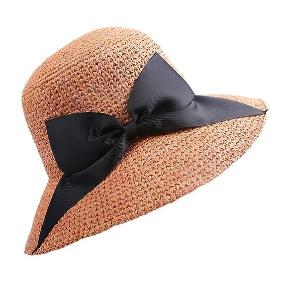 kyprx Lana Plegable Little Spring Sombrero de Paja Vacation Casual ...