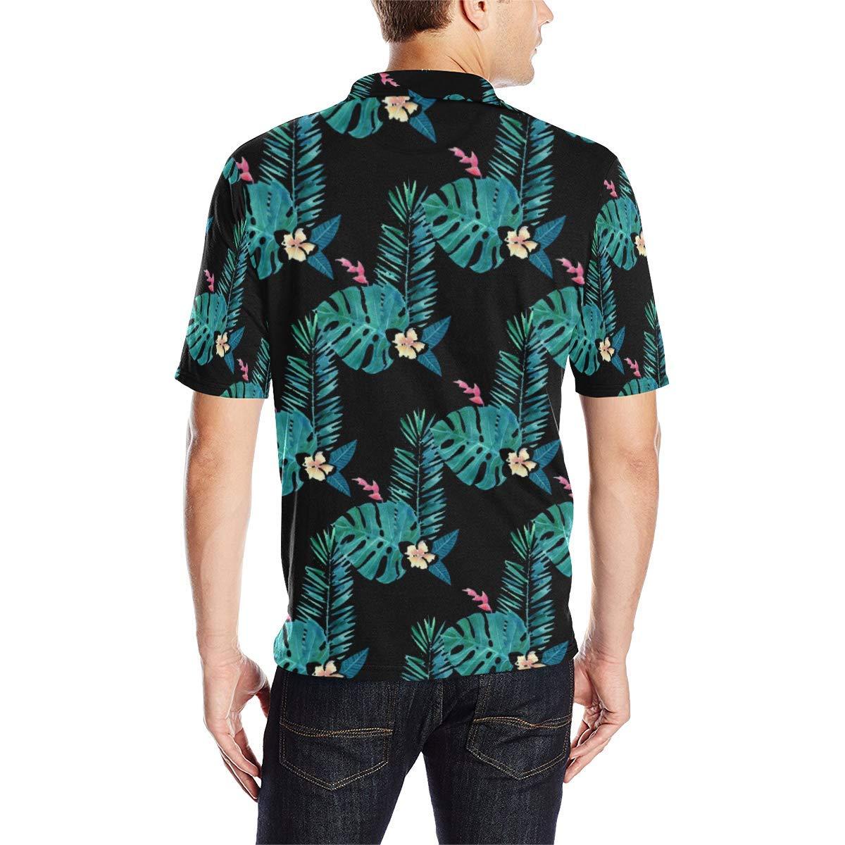 BrowneOLp Short Sleeve Blue Midnight Tropical Mens All Over Print Polo Shirt