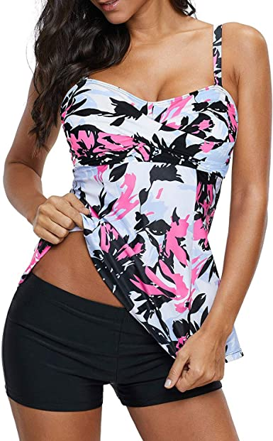 Zando Womens Swimsuits Two Piece Bathing Suits Tummy Control Swimsuits Sporty Tankini Top with Boyshort Swimsuits