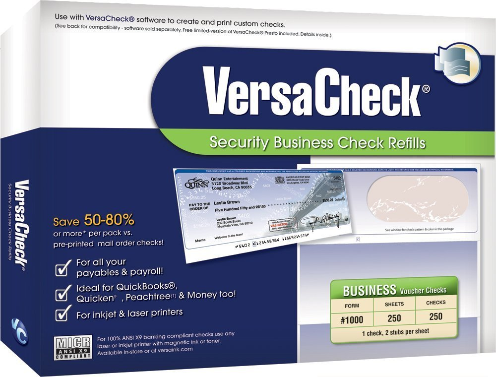 VersaCheck Security Business Check Refills: Form #1000 Business Voucher - Blue - Classic - 250 Sheets Global BIZZ Force Inc. 10BC01-01245-5