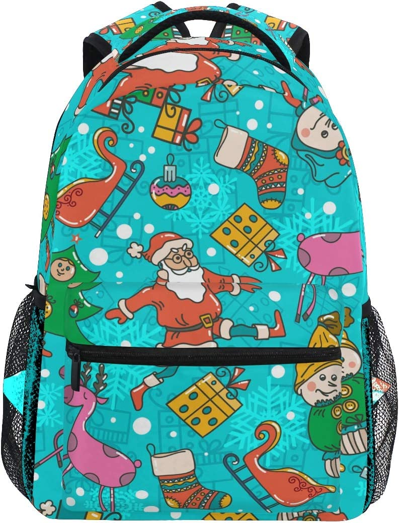 Xmas Santa Claus Reindeer Daypack Backpack School College Travel Hiking Fashion Laptop Backpack for Women Men Teen Casual Schoolbags Canvas