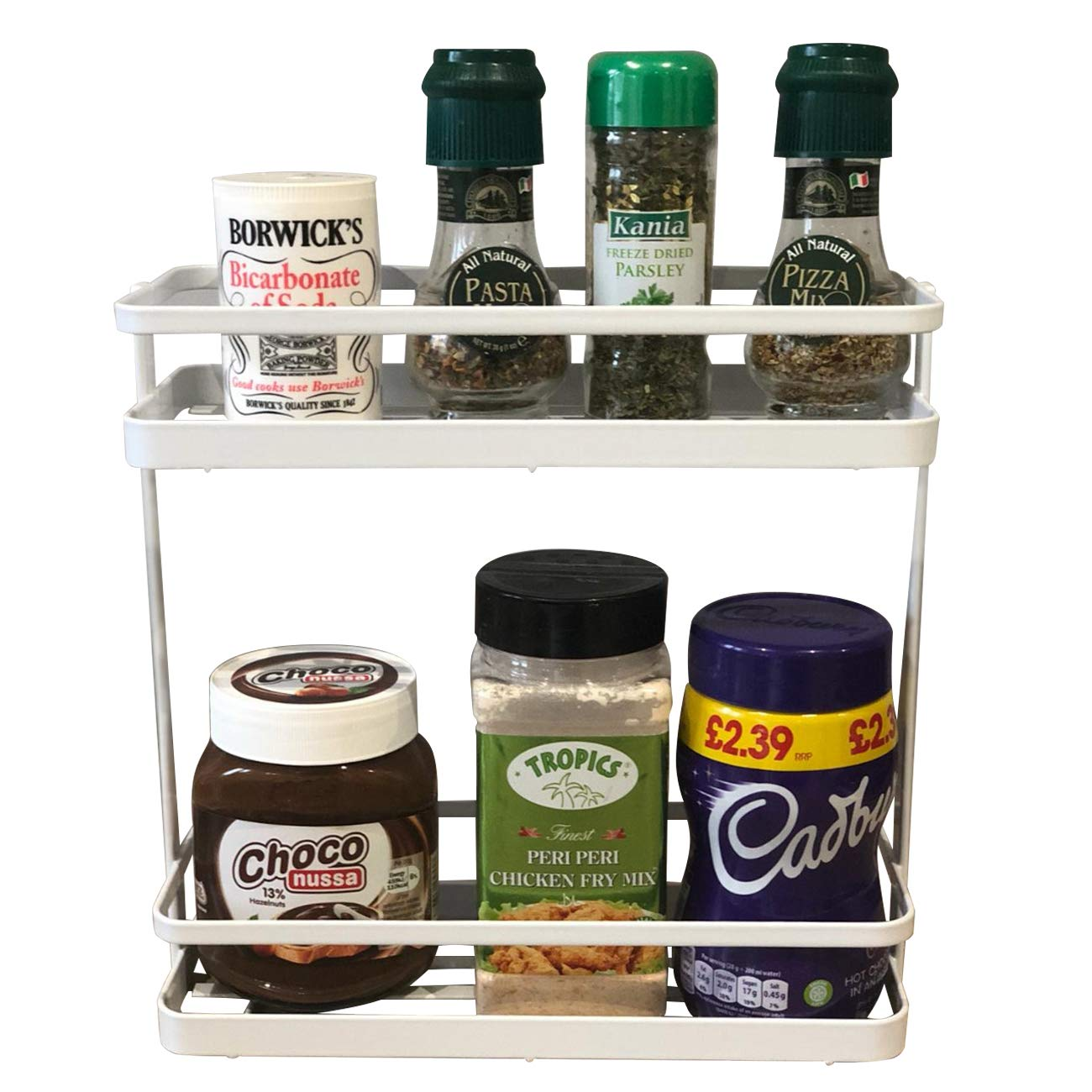 TiooDre 2 Tier Herb and Spice Rack :250 * 25 * 40mm| Spice Organizer Wall Mountable or Kitchen Cupboard Storage bxdxh Easy to Install | Measurements:
