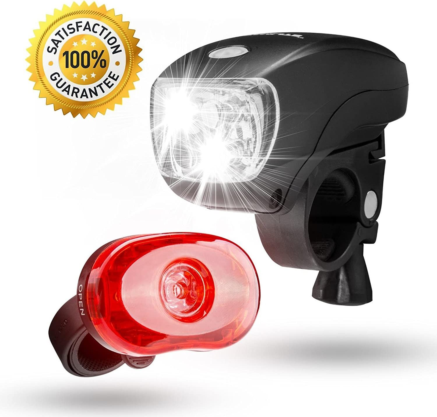 New Bicycle Light Front /& Rear Bike Light Set Pink Push Cycle Light Clip
