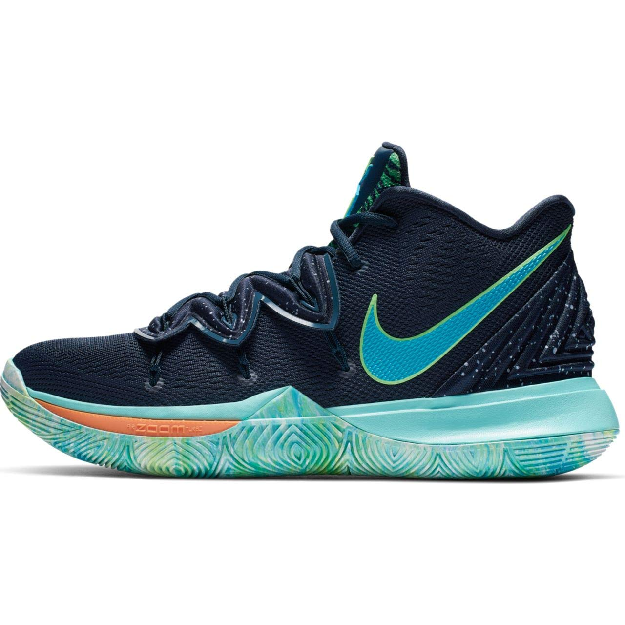 Nike Men's Kyrie 5 Obsidian/Light Current Blue/Scream Green Synthetic Basketball Shoes 10.5 M US by Nike