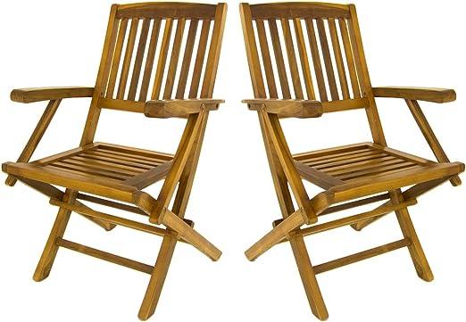 Edenjardi Pack 2 sillones de jardín Teca Plegables | Madera Teca Grado A | Tamaño: 54x57x88 cm| Tratamiento al Agua aplicado | Portes Gratis: Amazon.es: Jardín