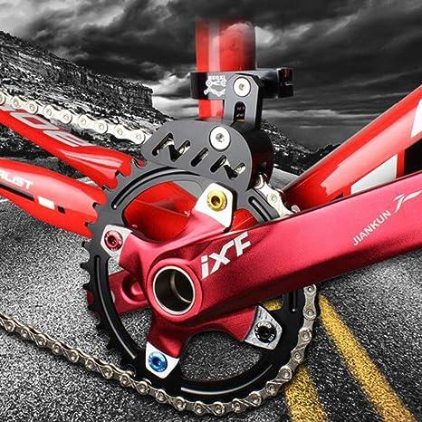 Guía de cadena de bicicleta MTB Protector de bicicleta de carretera bicicleta de montaña tensor de cadena con diseño hueco para piñón de un solo disco, dial frontal de conducción suave, negro: