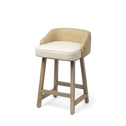 Excellent Amazon Com Mercana Wood And Fabric And Jute Bar Stool In Creativecarmelina Interior Chair Design Creativecarmelinacom