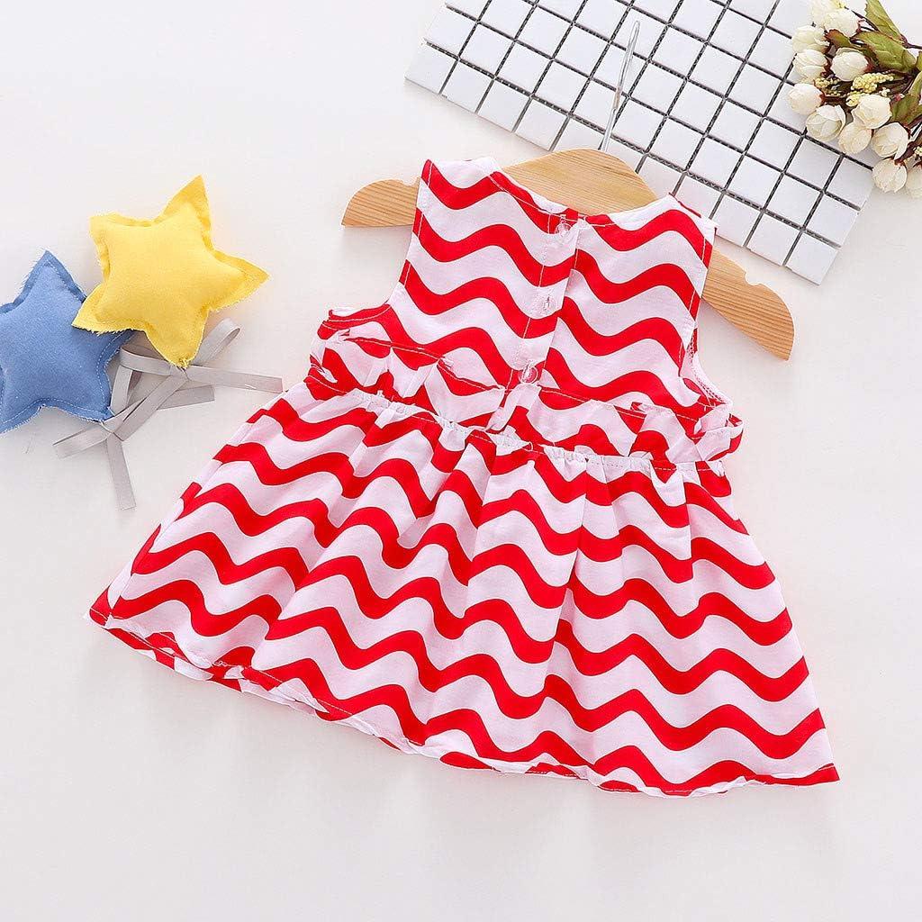 KONFA Baby Girls Summer Bowknot Stripes Print Sundress 3-24 Months Todder Kid Newborn Baby Girl Dresses Cotton Skirt