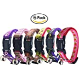 Cat Collar with Bell, Set of 3 OR 6, Solid Cat Collar, Made of Nylon, Many Designs Available, for Small Dogs, By Bemix Pets