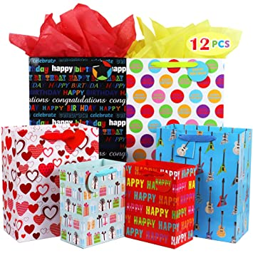 Fzopo Birthday Gift Bag Assortment With Ribbon Handle Heavy Duty Paper Bags Red
