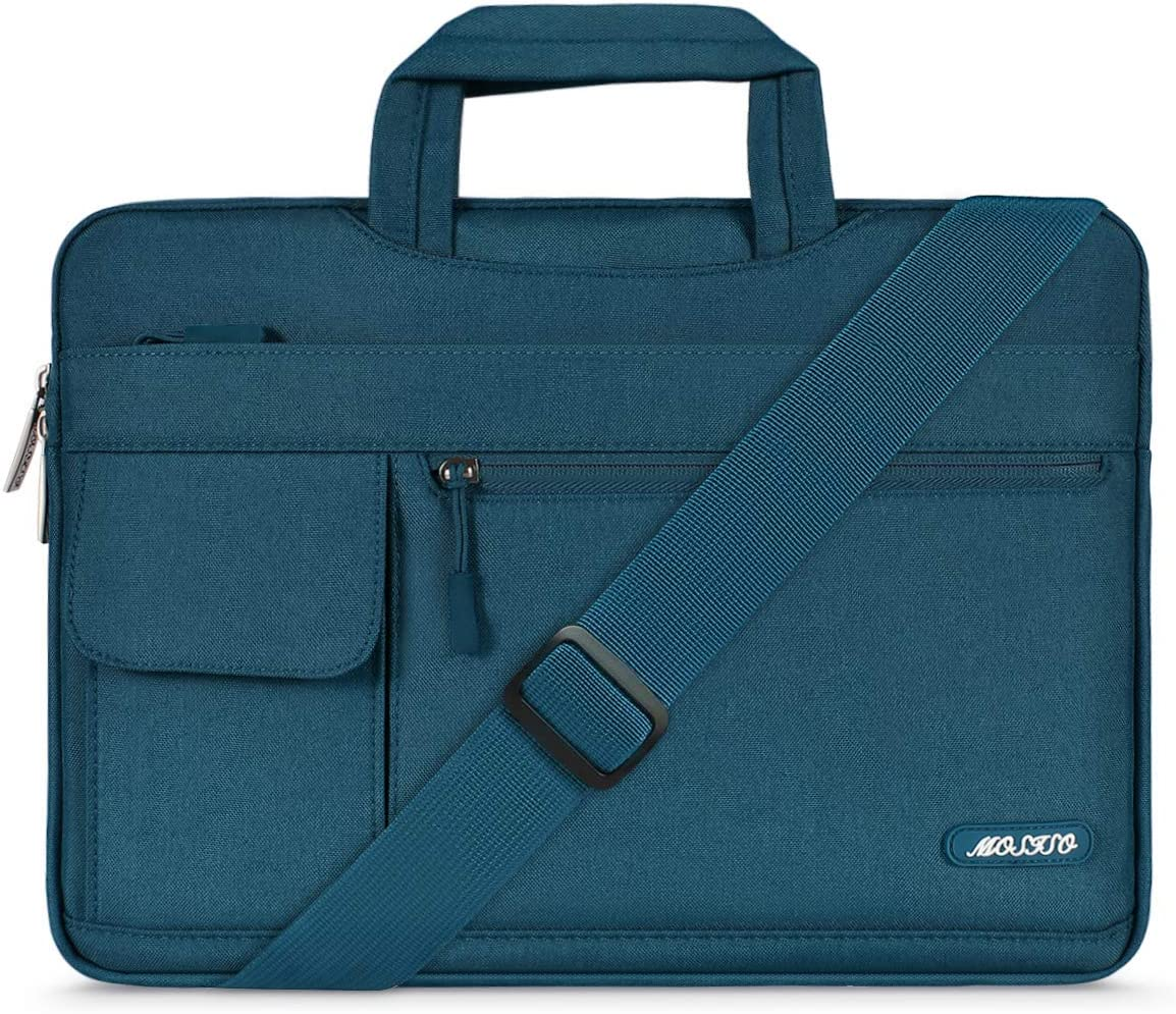 MOSISO Laptop Shoulder Bag Compatible with 2019 MacBook Pro 16 inch A2141, 15 15.4 15.6 inch Dell Lenovo HP Asus Acer Samsung Sony Chromebook, Polyester Flapover Briefcase Sleeve Case, Deep Teal