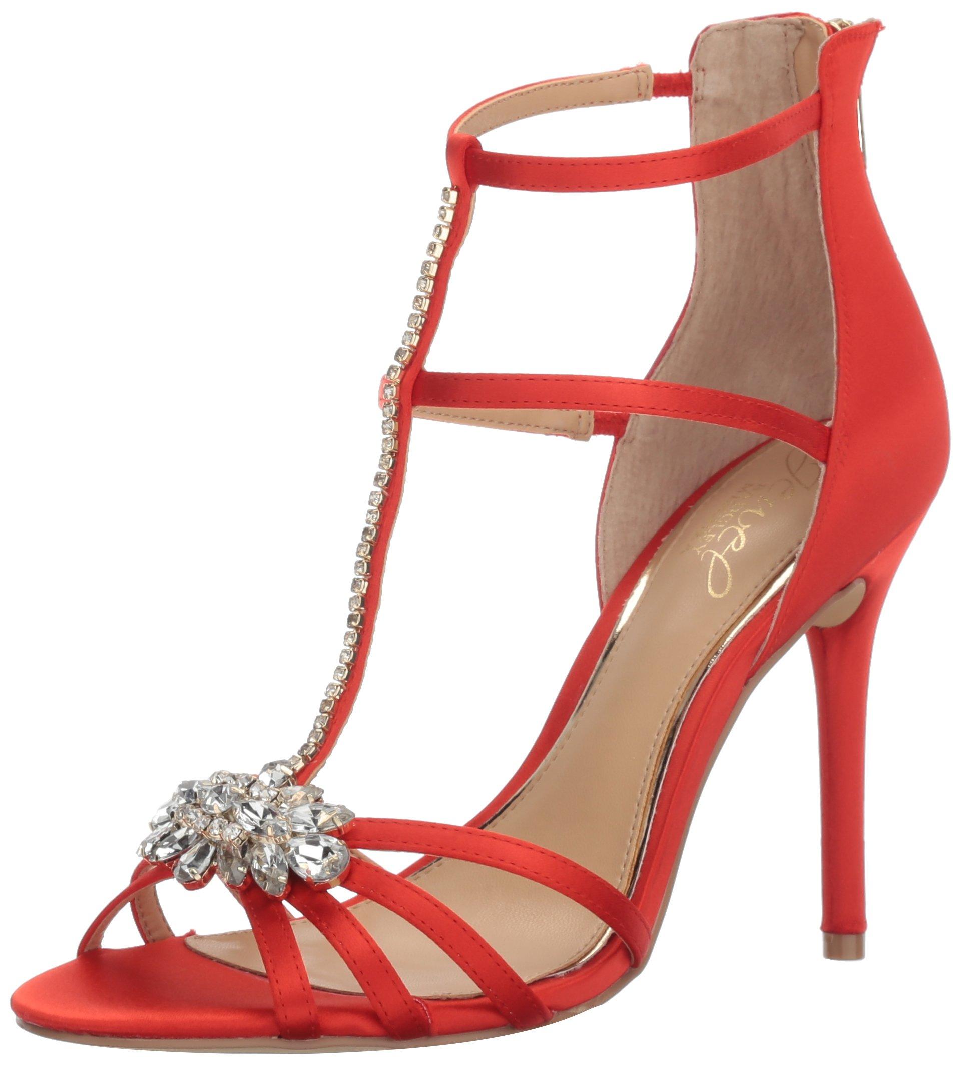 Badgley Mischka Jewel Women's Hazel Dress Sandal, Red, 6.5 M US