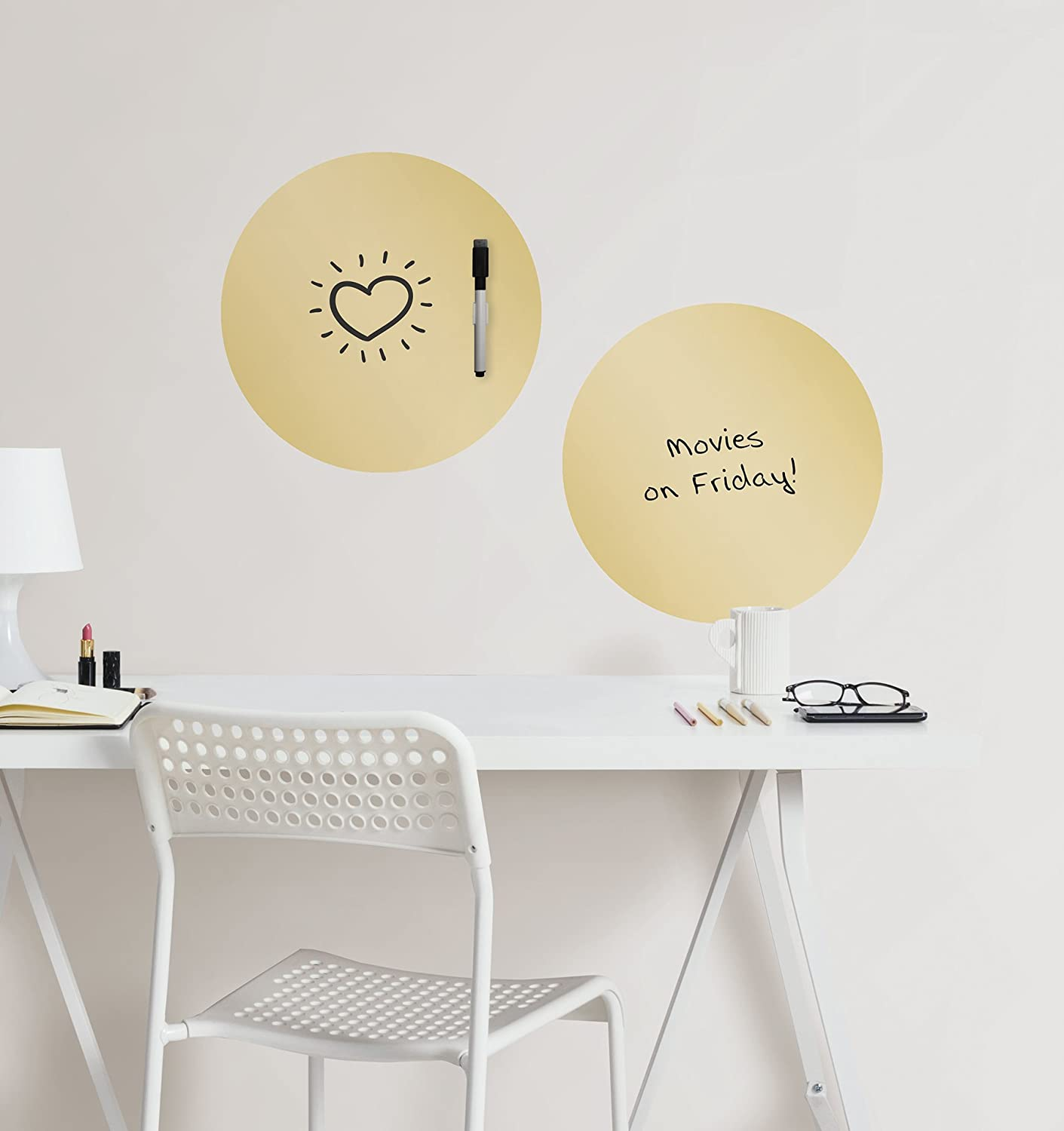 Wall Pops WPE2126 Gold Foil Dry Erase Dot Decals Metallic - - Amazon.com