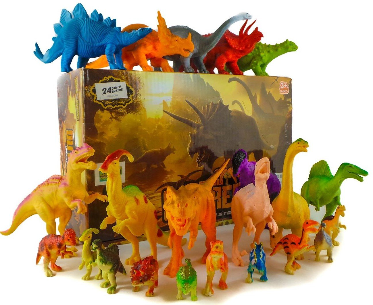 24 Jurassic Dinosaur Toys For 3, 4, 5, 6, 7 year old Boys Girls Toddlers Kids - Party Favors & Supplies- Plastic Action Figures for Bath Toys, Pool Toys & Pretend Play - STEM Learning Dino Set Big-D Productz