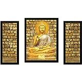 Saf Buddha Set Of 3 Religious 9190 Painting (35 X 3 X 50 cms)
