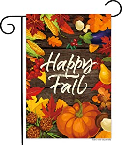 Generies Happy Fall Harvest Pumpkin Vertical Garden Flag- Double Sided,Vivid Color Small Autumn Maple Leaf Welcome Garden Yard Flags Banner Outdoor Indoor Lawn Home Decor 12 x 18 Inch
