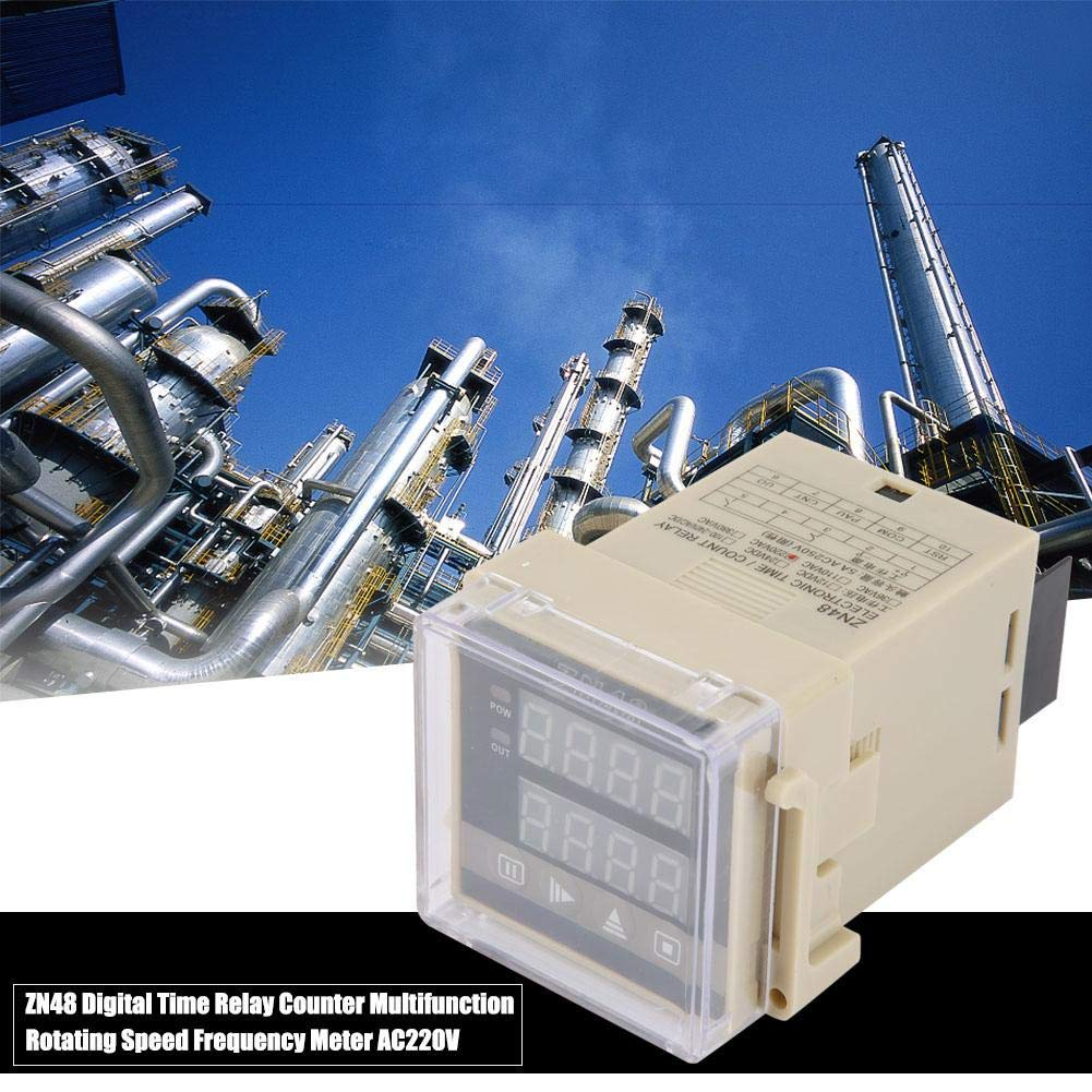 ZN48 Mini LCD Digital Time Relay Counter Medidor de frecuencia de velocidad giratoria multifunci/ón AC220V con 32 funciones//6 modos Digital Time Relay