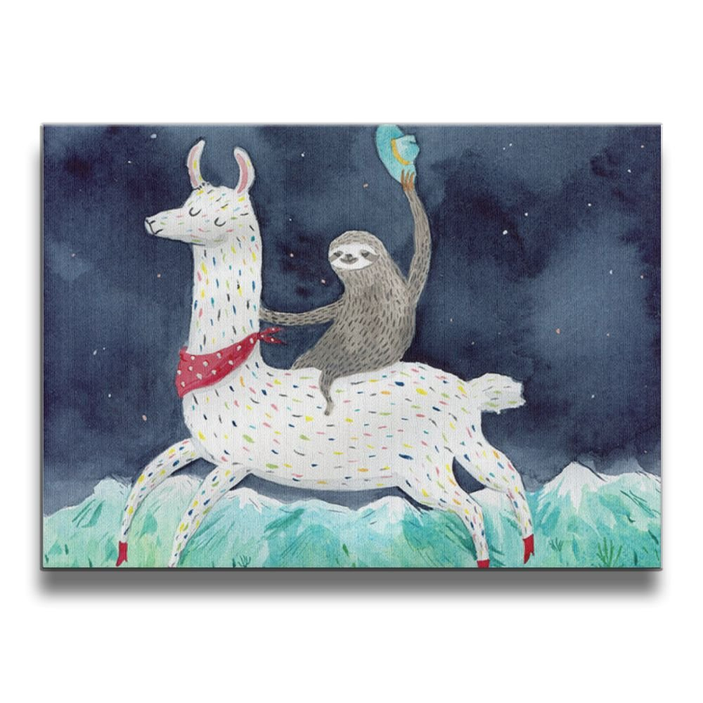 Sloth Riding Llama Canvas Wall Art Decoration Inner Framed Pictures Paintings For Living Room Bedroom Bathroom Home Artwork Decor