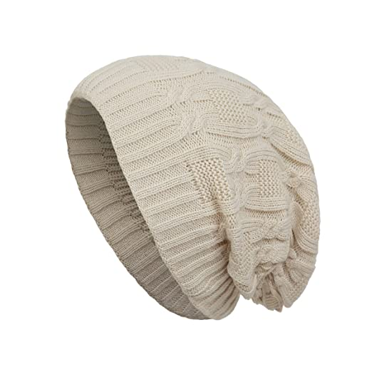 52a2512471c Surblue Unisex Trendy Warm Oversized Chunky Cable Knit Slouchy Beanie Beige