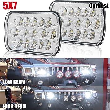 "Pair 7X6/'/' LED Headlights 5x7/"" H4 Plug LED driving light Rectangle Headlight"