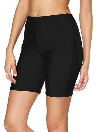 8a50a020dd BeautyIn Women's Stretch Board Shorts Sport Swimsuits Bottom Solid Beach  Shorts,Black 1,8